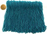 Mardi Gras Beads 33 inch 7mm, 12 Dozen, 144 Pieces, Turquoise Blue Necklaces with Doubloon