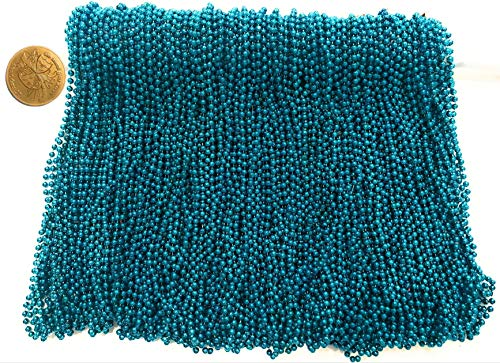 (Mardi Gras Beads 33 inch 7mm, 12 Dozen, 144 Pieces, Turquoise Blue Necklaces with Doubloon)