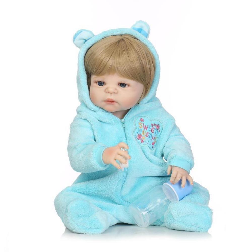QXMEI Baby-Puppe Weich Simulation Silikon 22 Zoll 57 cm Magnetisch Mund Lebensechte Junge Mädchen Spielzeug