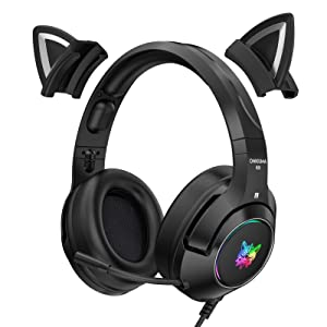 TONGHUA Gaming Headset with Mic, 3.5MM Sound Detachable Cat Ear Headphones Over Ear Office Headphones, Cute Headset for Cool Girl