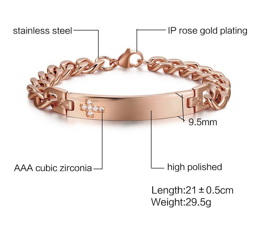 VNOX Free Engraving-9.5MM Stainless Steel CZ Cross Link Chain Lobster Bracelet for Men Women,Rose Gold Plated by VNOX (Image #2)