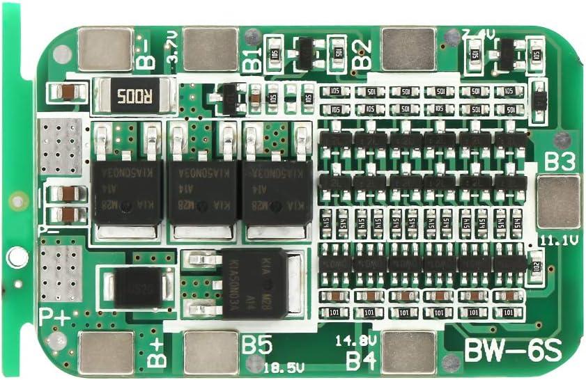 Tablero de Protección para Batería de Litio 18650 6S 15A 22V 24V Tablero de Protección de Batería PCB BMS para Celda de Iones de Litio 18650