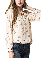 Eleery Fashion Women Loose V neck Long Sleeve Chiffon Floral Print T Shirt Blouse Casual Tops (UK 12, Floral Printed)