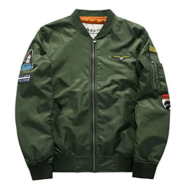 Amazon.com: Men's Classic Nylon Lightweight Military Bomber Jacket ...
