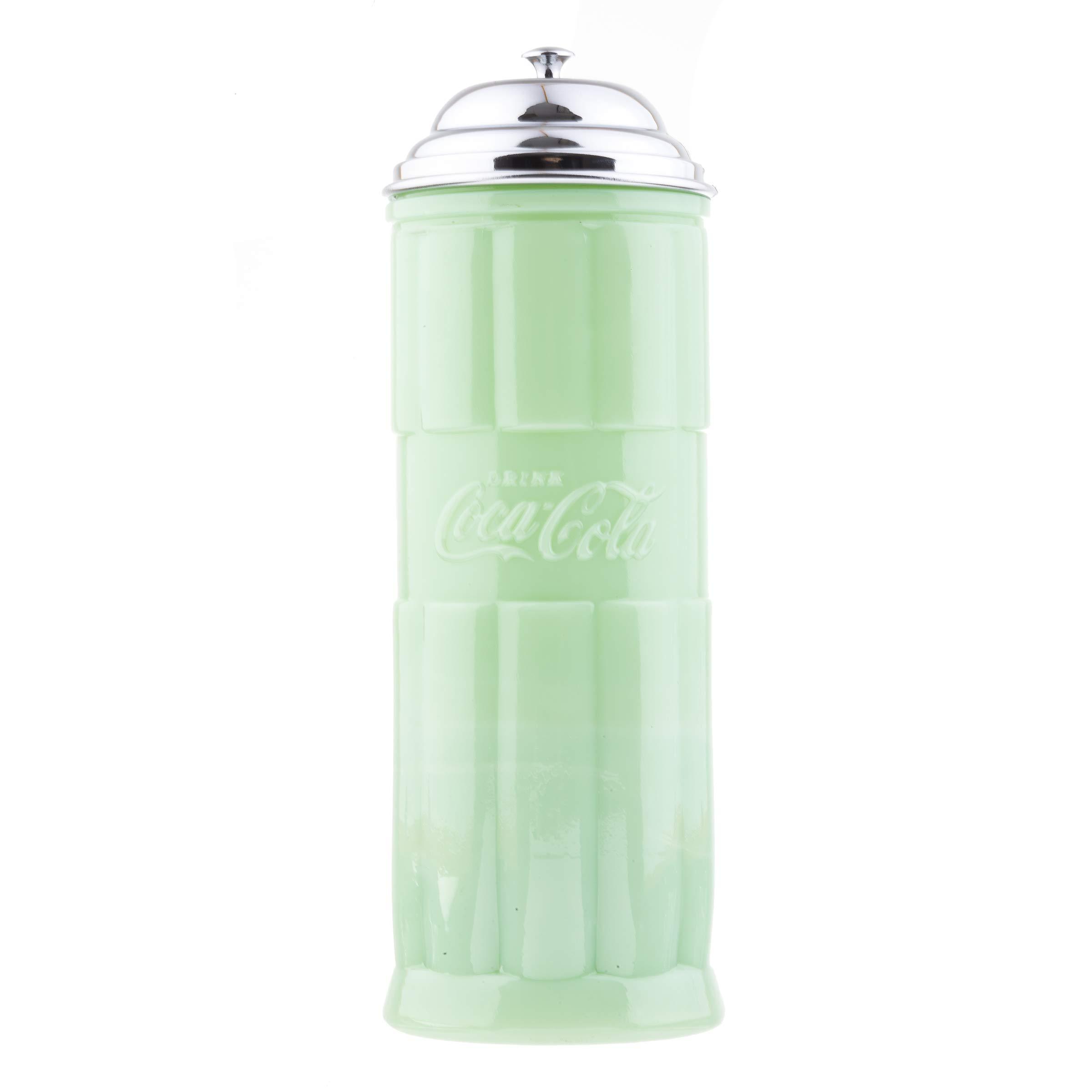 TableCraft's Coca-Cola Jadeite Straw Jar 4 x 4 x 11.25'', Green