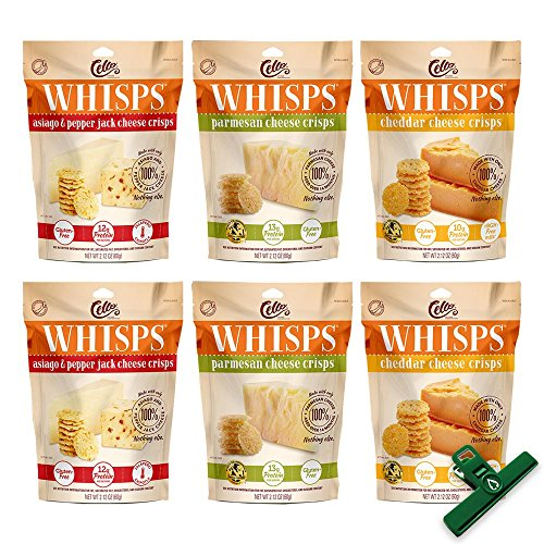 6 Pack Assortment, Cello Whisps Cheese Crisps: Cheddar, Parmesan, Asiago & Pepper Jack, Includes Bag Clip