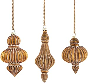 Napa Home & Garden Parisienne Ribbed Glass Ornaments, Antique Gold, Set of 3