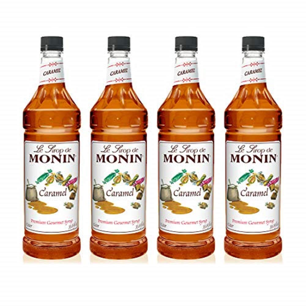 Amazon Com Monin Caramel Syrup Rich And Buttery Great For Desserts Coffee And Cocktails Gluten Free Non Gmo 1 Liter 4 Pack Beverage Flavoring Syrup Grocery Gourmet Food