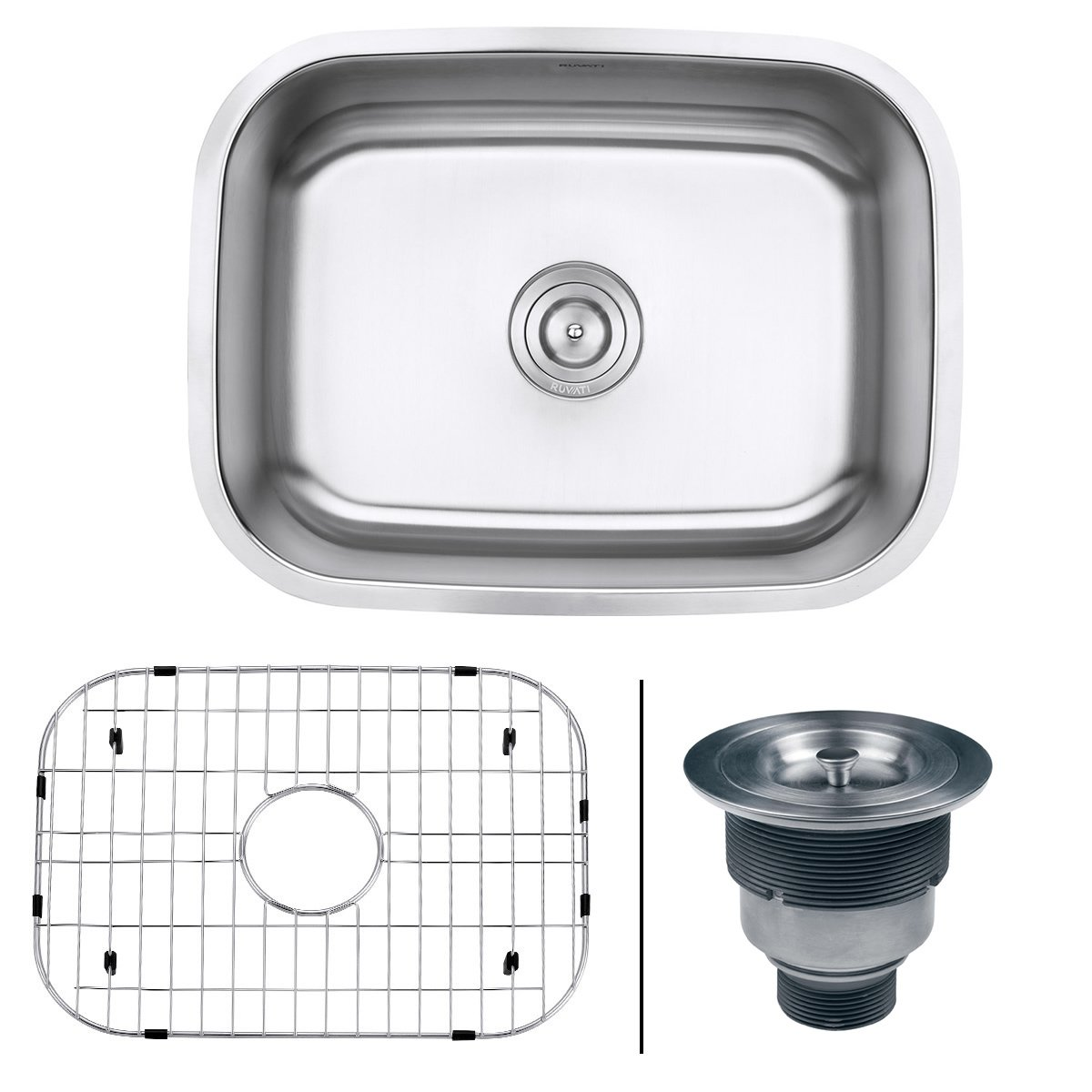 "Ruvati RVM4132 Undermount 16 Gauge 24"" Kitchen Single Bowl Sink, Stainless Steel"