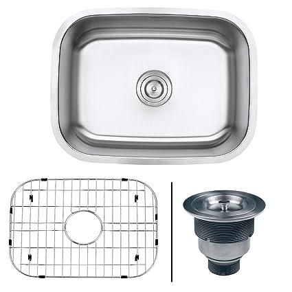 Superieur Ruvati RVM4132 Undermount 16 Gauge 24u0026quot; Kitchen Single Bowl Sink, Stainless  Steel