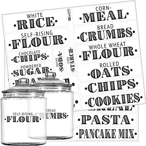 Pantry Labels - 36 Preprinted Kitchen Labels Sticker Set by Talented Kitchen. Large, PVC Clear, Gloss, Water Resistant, Food & Spice Jar Labels for Pantry Organization and Storage (Set of 36 - Titles) -