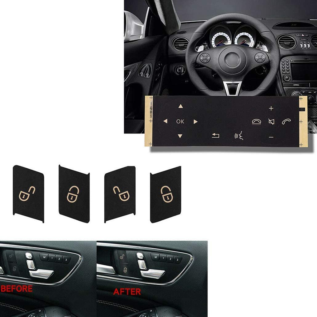 New Window Door Lock Steering Wheel Button Sticker Set For 08-14 Benz W204 C300