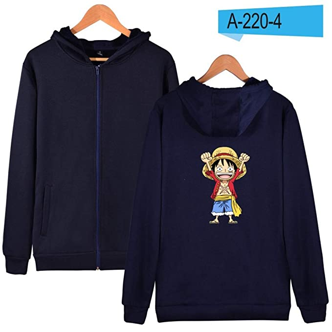 FLAMINGO_STORE Mens Hoodies Sweatshirts Cartoon Coat Anime Hoodies Mens Zipper Luffy Clothes Navy Blue