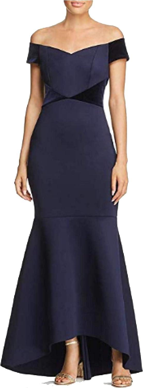 6 Blue Eliza J Womens Velvet Trim Hi-Low Evening Dress
