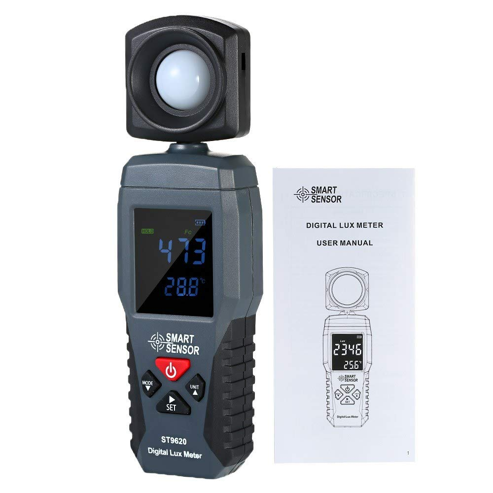 Konnon Digital Lux Meter LCD Display Handheld Illuminometer Luminometer Photometer Luxmeter Light Meter 1-200000 Lux by Konnon