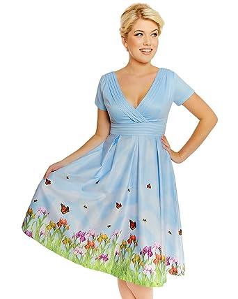 2b38a4c17860 Lindy Bop Darcy' Blue Iris Print Swing Dress - 26: Amazon.co.uk ...