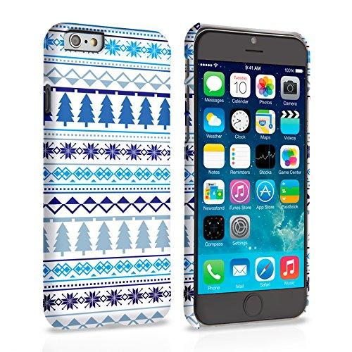 Caseflex iPhone 6 / 6S Hülle Weiß / Blau Fairisle Tannenbaum Hart Schutzhülle