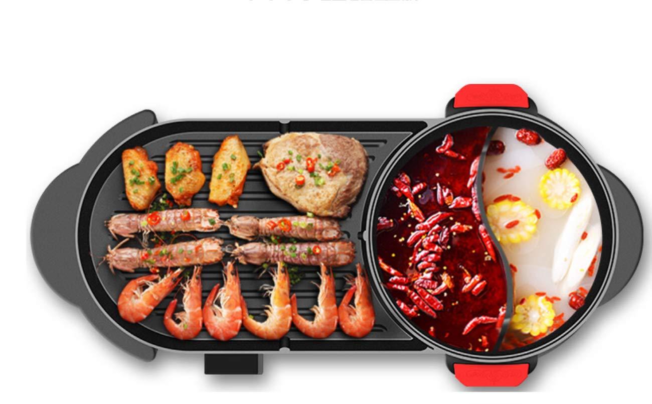Huaishu BBQ Rauchfreie Elektrische Grill Pfanne Mit Heißem Topf 2 In 1 2-12 Personen