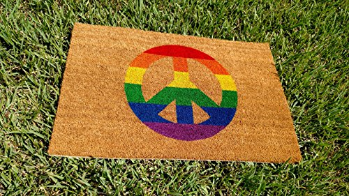 Rainbow Peace Sign Custom Handpainted Doormat by Killer Doormats, Size Large