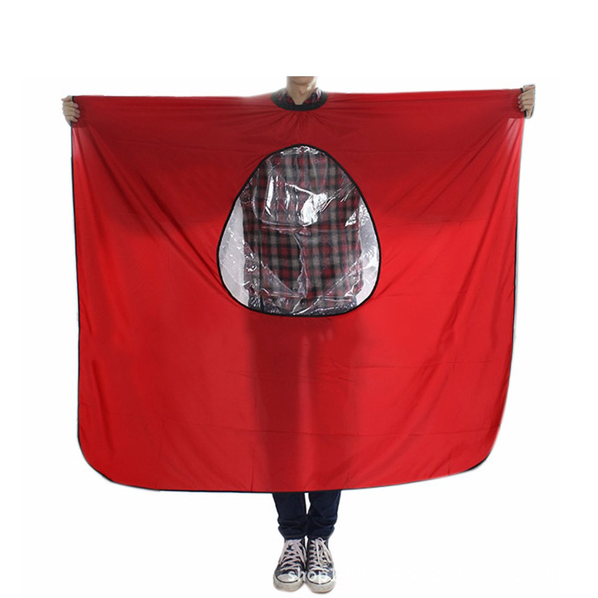 Elisona-Hair Salon Cutting Barber Shampoo Haircut Waterproof Cape Apron Cloth with a Transparent Viewing Window Red
