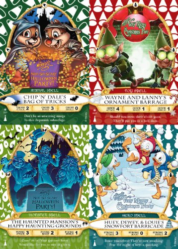 Sorcerers of the Magic Kingdom Party Card Set: 01/P, 02/P, 03P and 04/P from Walt Disney World WDW Mickey's Not-So-Scary Halloween Party and Mickey's Very Merry Christmas Party 2012 and 2013