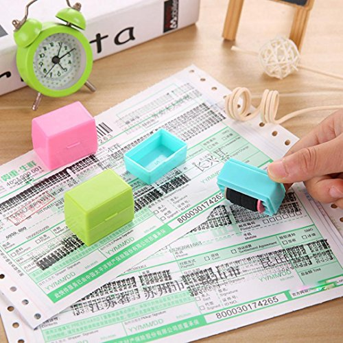 Spanish Alphabet Line - LtrottedJ 1Pcs Guard Your ID Roller Stamp SelfInking Stamp Messy Code Security Office (Blue)
