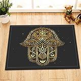LB India Arab Hamsa Hand Bath Mat Black Background Bathroom Rugs Flannel Customized Outdoor Indoor Front Door Mat Non-slip High Absorbent 16x24 Inch