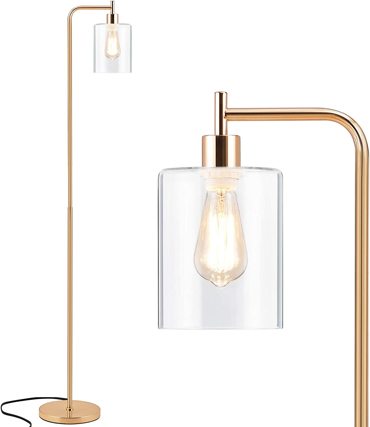 Tall LED Floor Lamp, Acaxin Modern Standing Lamp with Hanging Glass Shade and Bulb, Gold Farmhouse Indoor Pole Simple Floor Lamp, Industrial Reading Light for Living Room, Bedroom, Office, Home Decor