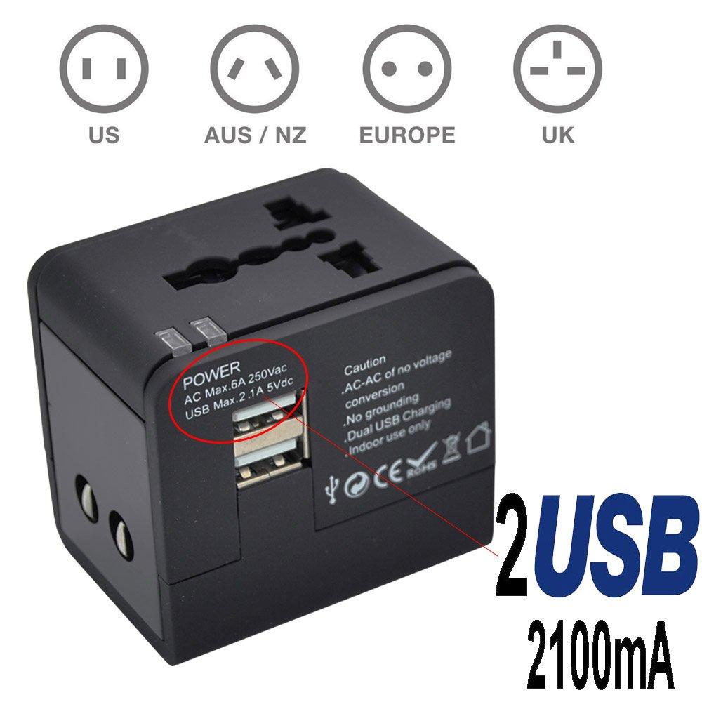 TBS® 2301 Adaptador universal de corriente (US / EU / UK / AU) y dos puertos USB de alta potencia (5V 2.1A) para cargar tablet PC, smartphones, cá maras digitales, reproductores de MP3 - Enchufes compatibles en má s de 150 paí ses