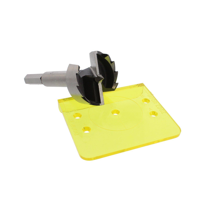 DCT Concealed Cabinet Door Hinge 35mm Template Jig Kit – European Hidden Hinge Boring Hole Cutter & Bit for Installation