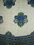 Mediterranean Style Round Cotton Tablecloth 88'' Blue and Green