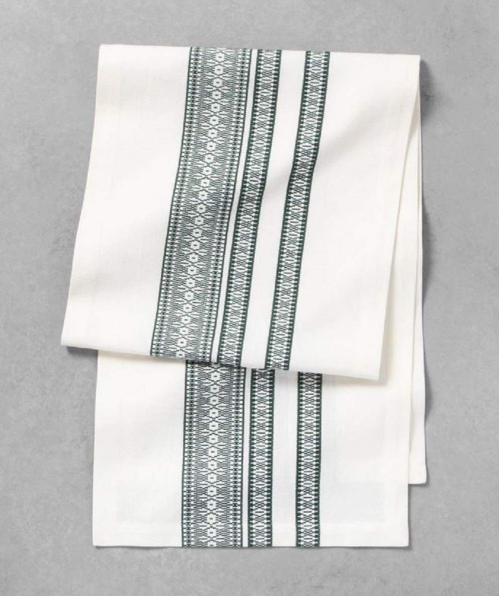 Hearth and Hand Farmhouse Christmas Cloth Napkins Cedar Rings Linen Dining Table Runner Kitchen Decor (Green Standard Size 72 inches (L) x 14 inches (W))