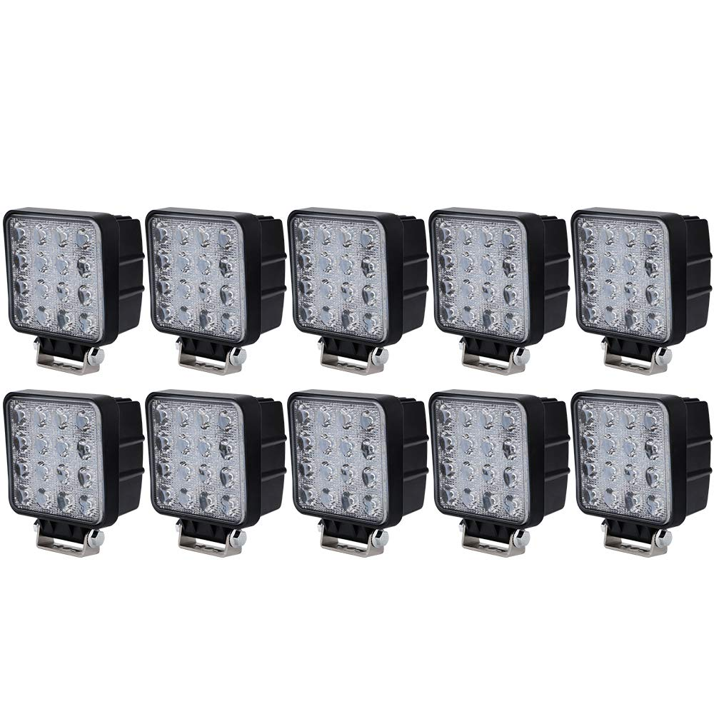 LED Light Bar AUSI 10PCS 4' Inch 48W LED Light Pods Work Light Spot Beam Off Road Driving Light Fog Lights Fits Truck Tractor Car Boat Motorcycle ATV SUV 4WD 12V-24V, 1 Year Warranty