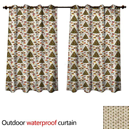 Outdoor Curtains for Patio Sheer Poinsettia Flowers W72 x L72(183cm x 183cm) ()