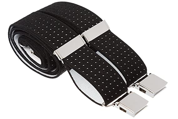 b7fd17badd3 Quality Pin Dot Strong Elastic Trouser Braces Mens Suspenders With Large  Clips - Black Blue Grey Assorted Sizes Avail  Amazon.co.uk  Clothing