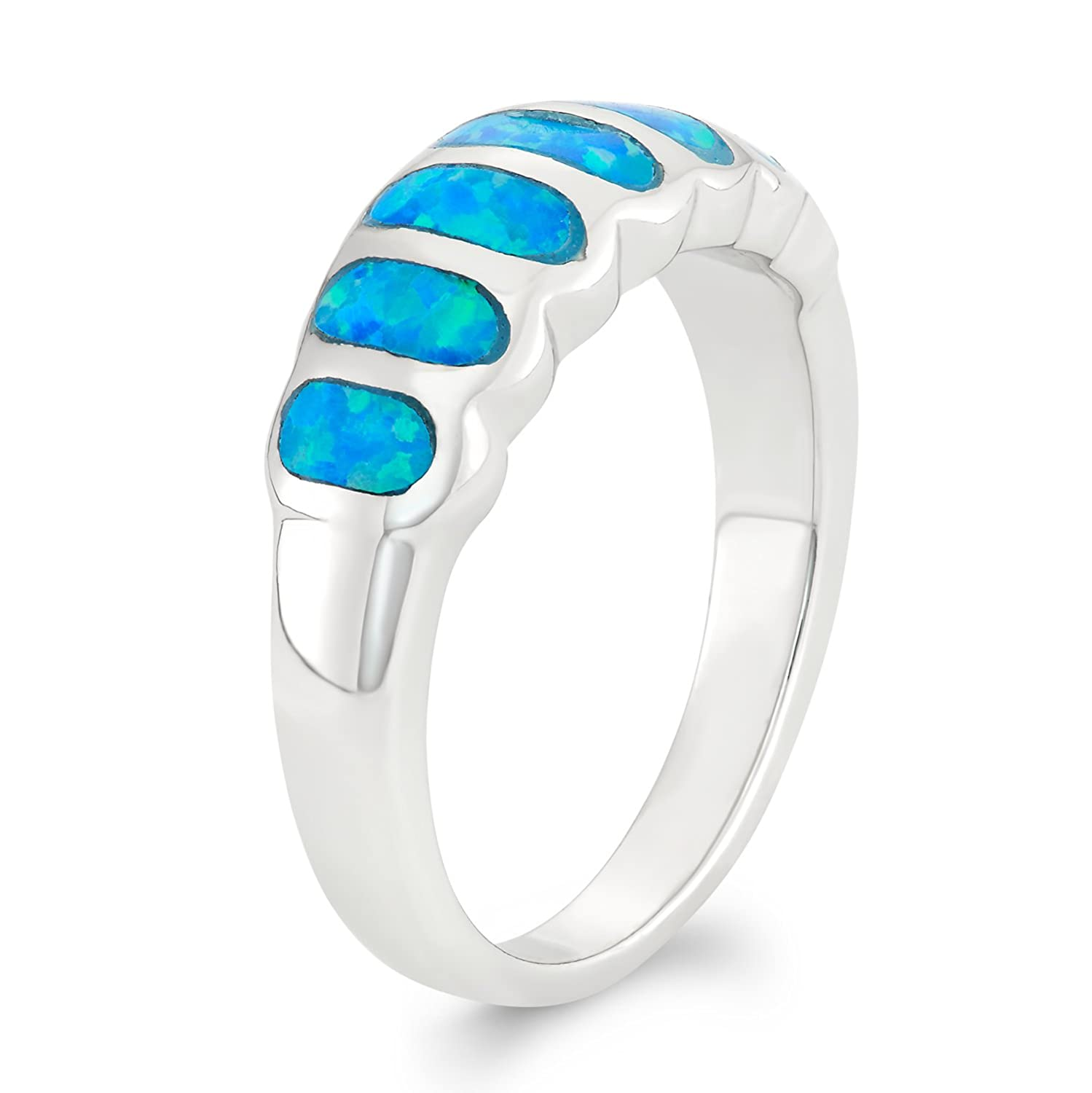 Beaux Bijoux Sterling Silver Created Blue Opal Striped Ring