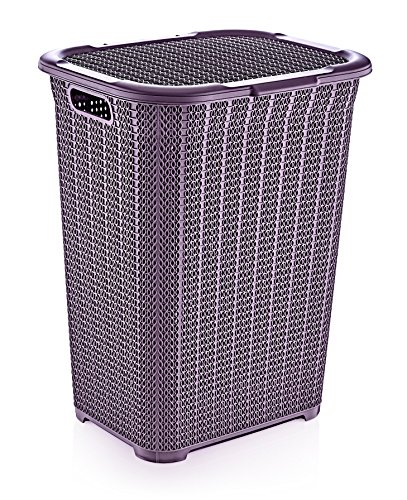 Superio Laundry Hamper Knit Style Basket With Lid 50 Liter - Purple Color Modern Designed - Laundry Room Hamper Basket With Cutout Handles Large & Tall Shape Bin To Storage Dirty Cloths - Decorative knit design High caliber plastic laundry hamper Holds plenty of laundry - laundry-room, hampers-baskets, entryway-laundry-room - 61xVX1JbIlL -