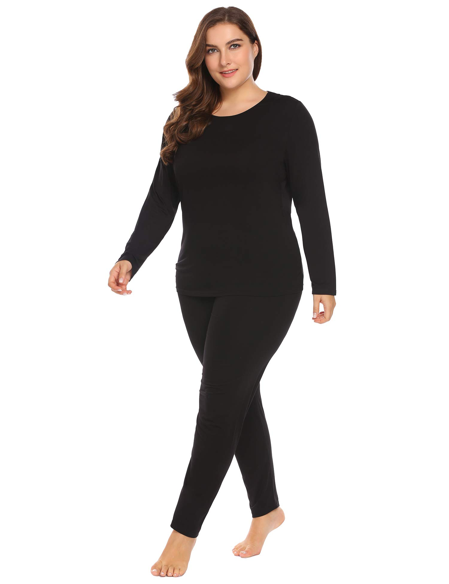 Women's Plus Size Thermal Long Johns Sets 2 Pcs Underwear Top & Bottom Pajama XL-15XL