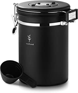 Soulhand Coffee Canister, Airtight Stainless Steel Coffee Storage Container. with Scoop,Date Tracker and Information Card.Coffee Storage Jar for Storing Coffee Beans,Sugar and Tea 22oz/660g (Black)