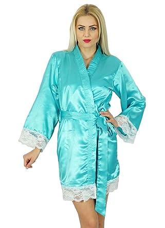 420eb054ac Bimba Women Kimono Sleeve Satin Short Robe Bride Bridesmaid Lace Robes  Coverup Aqua Blue