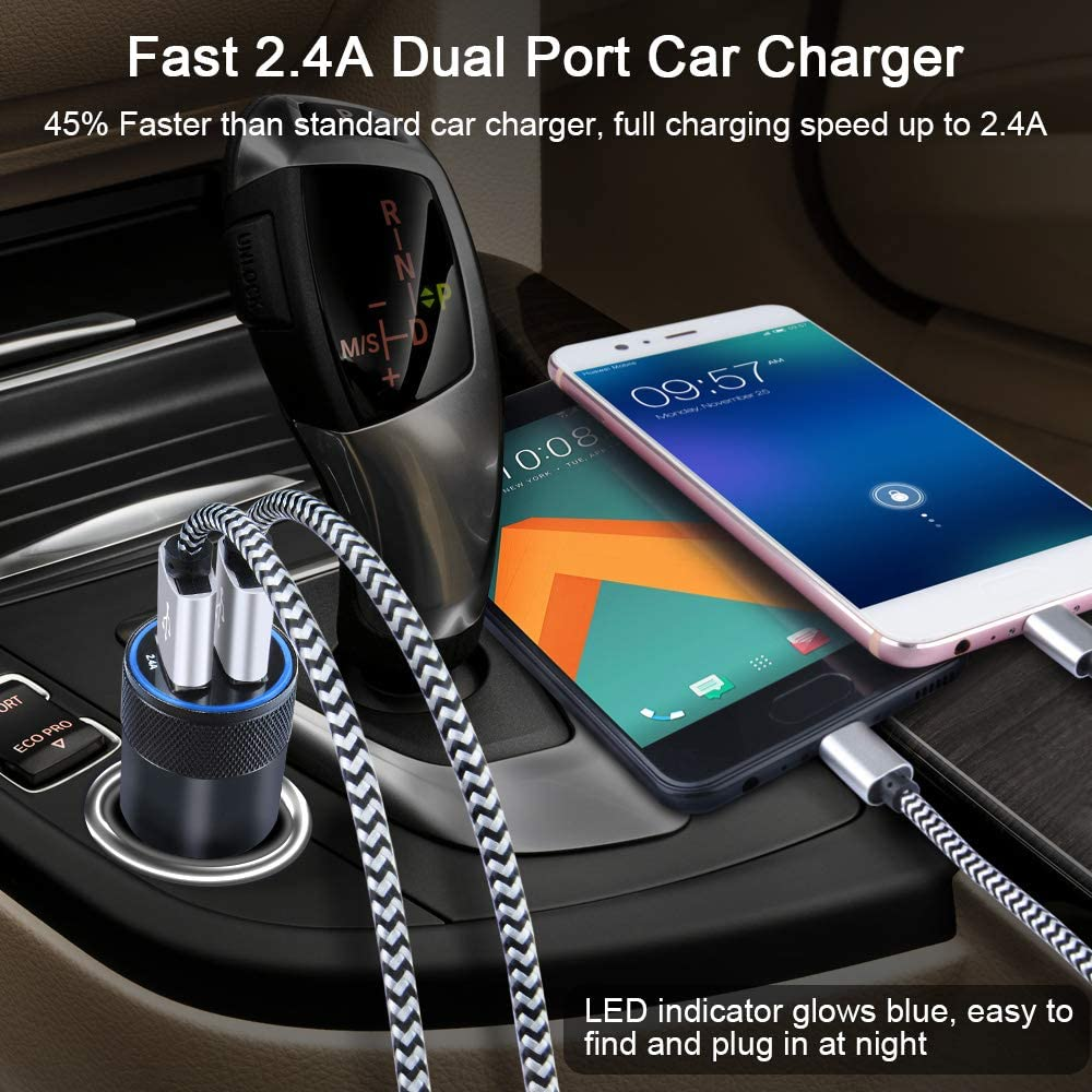 2Pack 6ft Type C Cable Fast Charging Cords Compatible for Samsung Galaxy A20 A80 S10e S10 S9 Plus Note10 LG G7 G8 V30 V20 V40 thinQ Stylo 4 5 Wall Plug Charger Box Dual USB Car Charger Moto G7