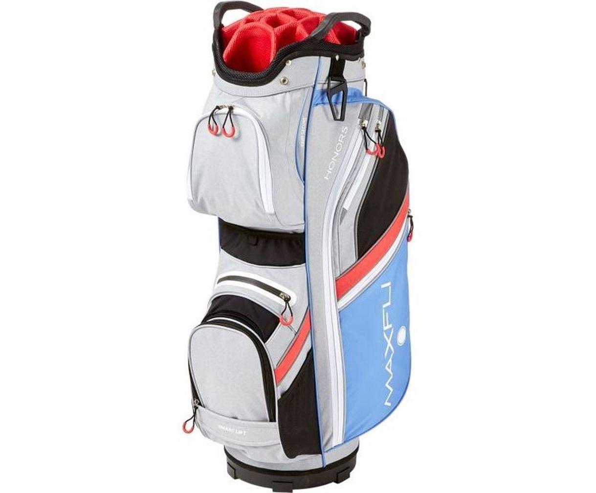 Maxfli Women's 2018 Cart Golf Bag - 14 Way - 10 Pockets - Gray/Coral/Blue