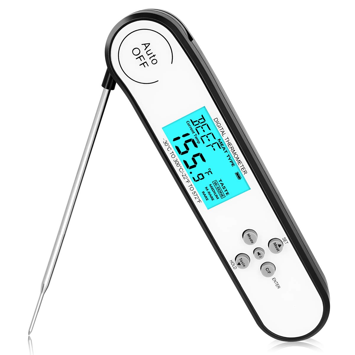 [Professional is The Best] Digital Instant Read Meat Thermometer Cooking Food Candy Kitchen Thermometer with Backlight and Magnet for Oil Deep Fry BBQ Grill Smoker Thermometer