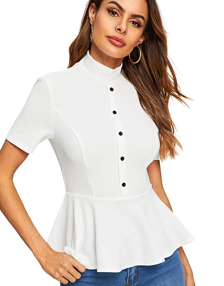 f89aca1baa063 Romwe Women s Buttons Up Short Sleeve Pleated Elegant Slim Fit Peplum Top Shirt  Blouse at Amazon Women s Clothing store