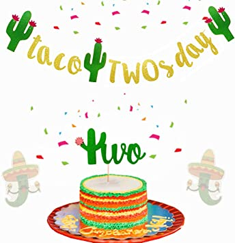 Peachy Amazon Com Set Of 2 Jevenis Glittery Taco Twosday Banner 2Nd Funny Birthday Cards Online Bapapcheapnameinfo