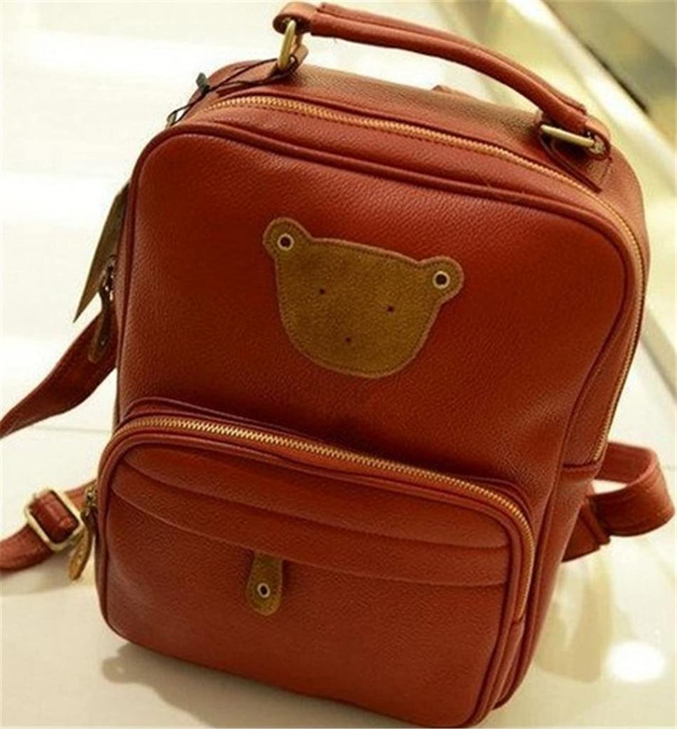 BG0268 Korean Style Zipper Bear Print PU Leather School Handbag, Travel Backpack (Red Color)