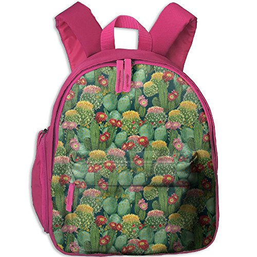 SarahKen Flowers Cactus Texas Desert Botanic Various Plants With Spikes Pattern Children School Bag Backpack Pink 12.5