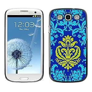 Be Good Phone Accessory // Dura Cáscara cubierta Protectora Caso Carcasa Funda de Protección para Samsung Galaxy S3 I9300 // Patter Oriental Royal Blue Golden Yellow Crown