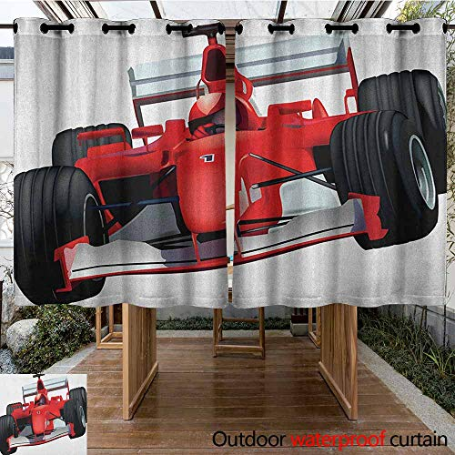 Indoor/Outdoor Curtains,Cars,Formula Race Car with The Driver Automobile Sports Theme Strong Engine Print,for Porch&Beach&Patio,K140C115 Red Black White