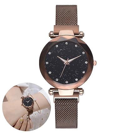 Wudi Relojes de Lujo de Diamantes de imitación Reloj Pulsera magnética señoras Reloj de Cuarzo el